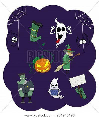 Halloween vector icons. Pumpkin, ghost, spiders, witch, vampire, dead hand. Set of cartoon characters