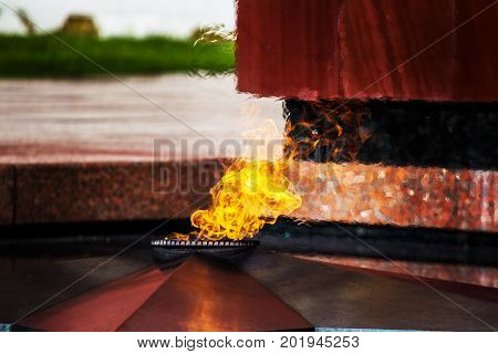 Memorial to tomb of Unknown Soldier in Alexander Garden, Moscow, Eternal fire