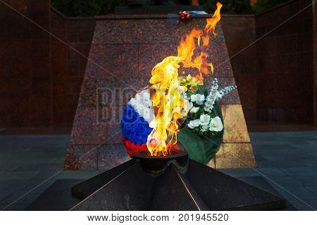 Memorial to tomb of soldiers died in WWII in Zvenigorod, Russia, Eternal Flame