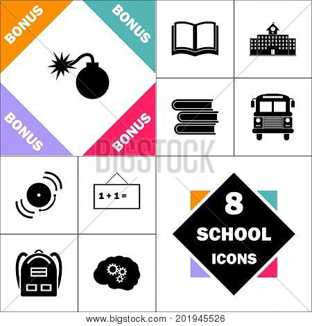 Bomb Icon and Set Perfect Back to School pictogram. Contains such Icons as Schoolbook, School  Building, School Bus, Textbooks, Bell, Blackboard, Student Backpack, Brain Learn