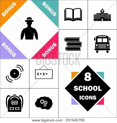 hipster Icon and Set Perfect Back to School pictogram. Contains such Icons as Schoolbook, School  Building, School Bus, Textbooks, Bell, Blackboard, Student Backpack, Brain Learn