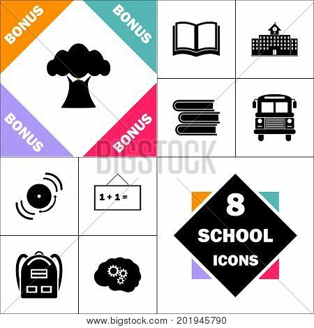 Baobab Icon and Set Perfect Back to School pictogram. Contains such Icons as Schoolbook, School  Building, School Bus, Textbooks, Bell, Blackboard, Student Backpack, Brain Learn