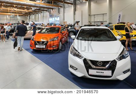 CRACOW POLAND - MAY 20 2017: Nissan Micra displayed at 3rd edition of MOTO SHOW in Cracow Poland. Exhibitors present most interesting aspects of the automotive industry