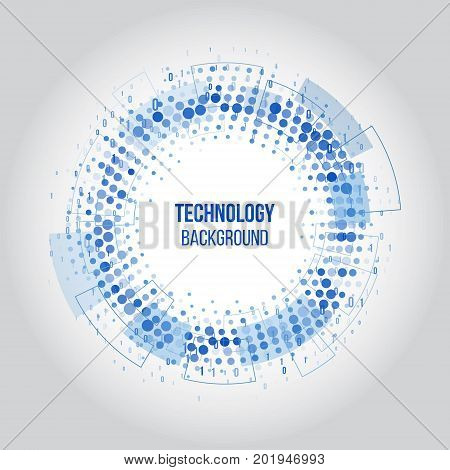 Abstract technology circles with dots and binary code. Science vector illustration