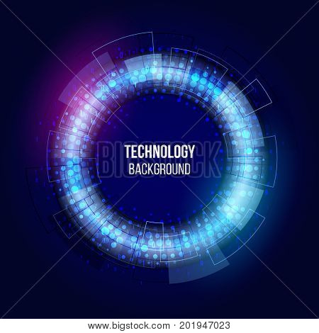 Abstract glowing technology circles with dots and binary code. Science vector illustration