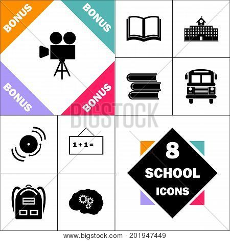 camcorder Icon and Set Perfect Back to School pictogram. Contains such Icons as Schoolbook, School  Building, School Bus, Textbooks, Bell, Blackboard, Student Backpack, Brain Learn