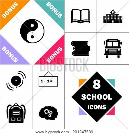Ying-yang Icon and Set Perfect Back to School pictogram. Contains such Icons as Schoolbook, School  Building, School Bus, Textbooks, Bell, Blackboard, Student Backpack, Brain Learn
