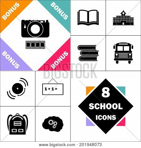 Camera Icon and Set Perfect Back to School pictogram. Contains such Icons as Schoolbook, School  Building, School Bus, Textbooks, Bell, Blackboard, Student Backpack, Brain Learn