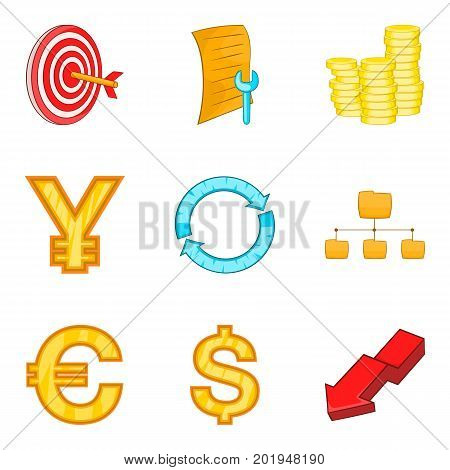 Valuation icons set. Cartoon set of 9 valuation vector icons for web isolated on white background