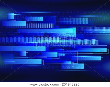 Abstract technology line background. Futuristic transferring information. Big data visualization. High tech vector illustration
