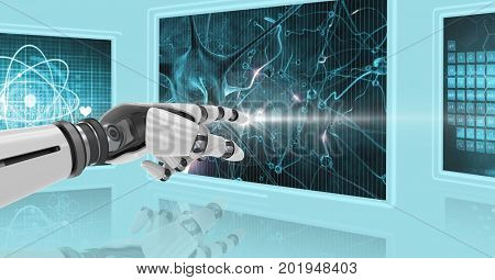 Digital composite of 3D robot arm touching screen with medical image