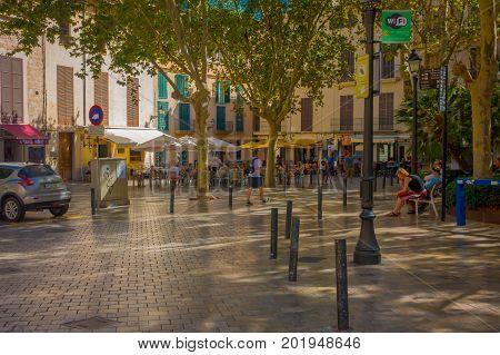 PALMA DE MALLORCA, SPAIN - AUGUST 18 2017: Unidentified people walking at Boulevard Born in Palma de Mallorca, Spain, Europe.