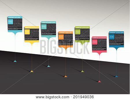 Milestone timeline step by step template infographic. Vector.