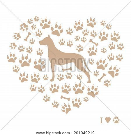 Nice Picture Of Great Dane Silhouette On A Background Of Dog Tracks And Bones In The Form Of Heart.