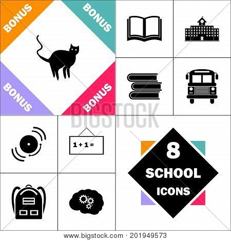 Evil Cat Icon and Set Perfect Back to School pictogram. Contains such Icons as Schoolbook, School  Building, School Bus, Textbooks, Bell, Blackboard, Student Backpack, Brain Learn