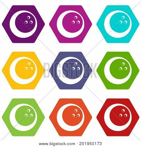 Marbled bowling ball icon set many color hexahedron isolated on white vector illustration