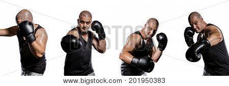 Digital composite of Man boxing collage