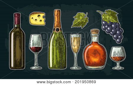 Set drinks made from grapes. Wine, brandy, champagne bottle, glass, barrel, cheese, bunch of grapes with berry and leaf. Vintage color engraving vector illustration isolated on dark background