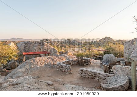 HOADA NAMIBIA - JUNE 27 2017: The bar area between boulders on a hill at the Hoada Camp in the Kunene Region of Namibia