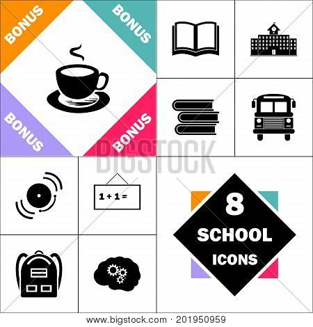 Hot coffe Icon and Set Perfect Back to School pictogram. Contains such Icons as Schoolbook, School  Building, School Bus, Textbooks, Bell, Blackboard, Student Backpack, Brain Learn
