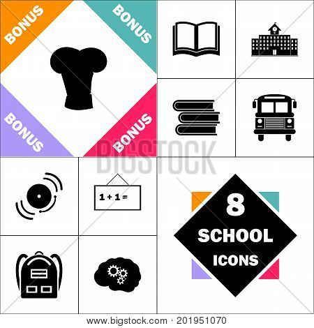 cook hat Icon and Set Perfect Back to School pictogram. Contains such Icons as Schoolbook, School  Building, School Bus, Textbooks, Bell, Blackboard, Student Backpack, Brain Learn