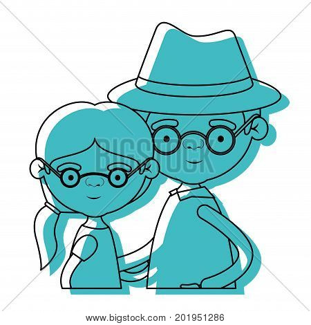 half body elderly couple with grandmother with ponytail side hair with grandfather with hat and glasses in blue watercolor silhouette vector illustration