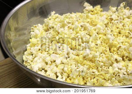 Metal Bowl Of Popcorn Ready To Be Eaten