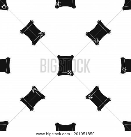 Paper scroll with wax seal pattern repeat seamless in black color for any design. Vector geometric illustration