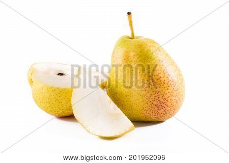 Fresh williams pears or bartlett pear isolated on white background.