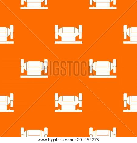 Metalworking machine pattern repeat seamless in orange color for any design. Vector geometric illustration