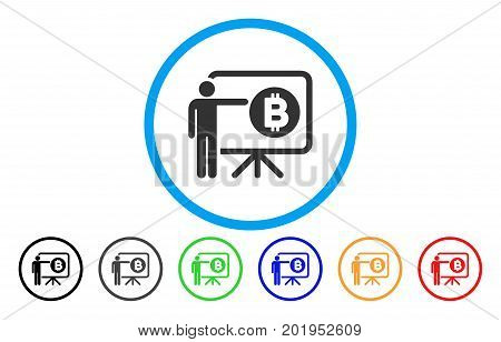 Bitcoin Lecture Board flat vector illustration for application and web design.