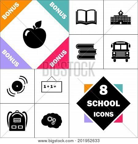 Apple Icon and Set Perfect Back to School pictogram. Contains such Icons as Schoolbook, School  Building, School Bus, Textbooks, Bell, Blackboard, Student Backpack, Brain Learn