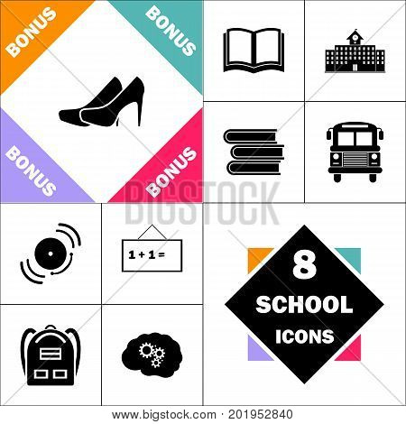 shoes Icon and Set Perfect Back to School pictogram. Contains such Icons as Schoolbook, School  Building, School Bus, Textbooks, Bell, Blackboard, Student Backpack, Brain Learn
