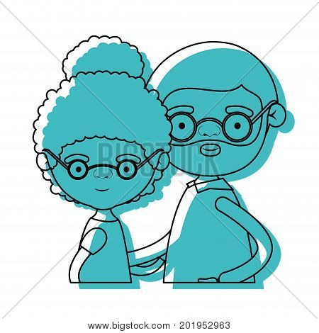 half body couple elderly of grandmother with curly bun hair with grandfather with beard and glasses in blue watercolor silhouette vector illustration