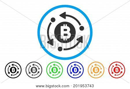 Bitcoin Rotation Arrows flat vector pictograph for application and web design.