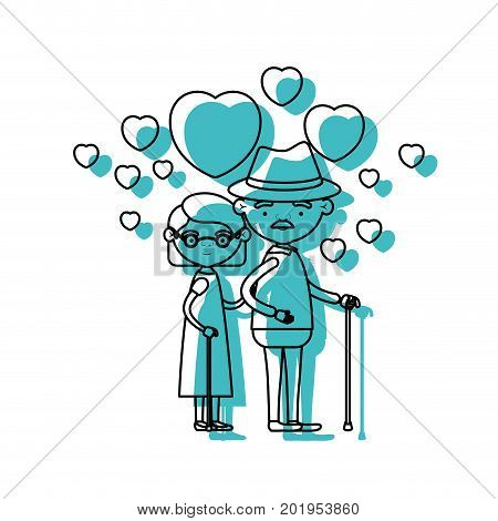 caricature full body elderly couple embraced with floating hearts grandfather with hat in walking stick and grandmother with short hair in blue watercolor silhouette vector illustration