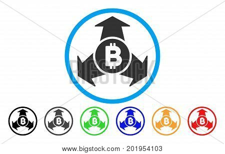 Bitcoin Spend Arrows flat vector pictogram for application and web design.