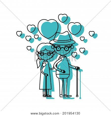caricature full body elderly couple embraced with floating hearts grandfather with hat in walking stick and grandmother with side ponytail hair and glasses in blue watercolor silhouette vector illustration