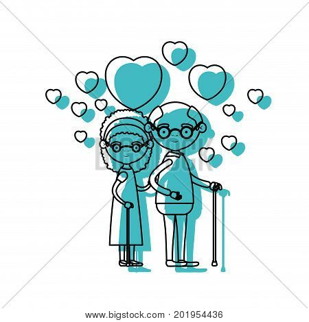 caricature full body elderly couple embraced with floating hearts grandfather with glasses in walking stick and grandmother with bow lace and curly hair in blue watercolor silhouette vector illustration