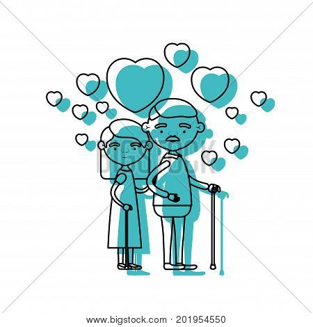 caricature full body elderly couple embraced with floating hearts grandfather with moustache in walking stick and grandmother with straight hair in blue watercolor silhouette vector illustration