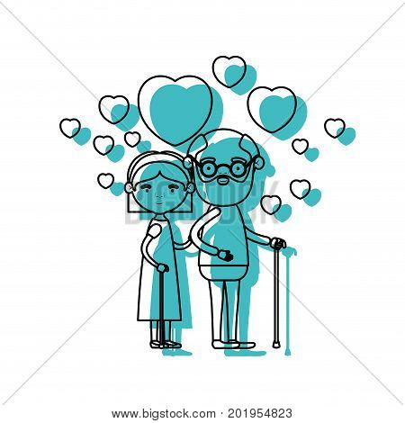 caricature full body elderly couple embraced with floating hearts grandfather in walking stick and grandmother with bow lace and short hair in blue watercolor silhouette vector illustration