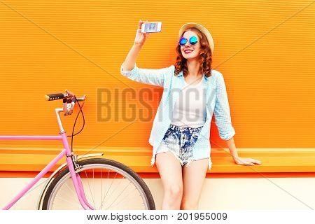 Summer Young Woman Using Taking Self Portrait On Smartphone With Retro Bicycle