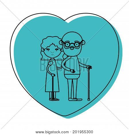 heart shape greeting card with caricature full body elderly couple embraced bearded grandfather in walking stick and grandmother with wavy hair in blue watercolor silhouette vector illustration