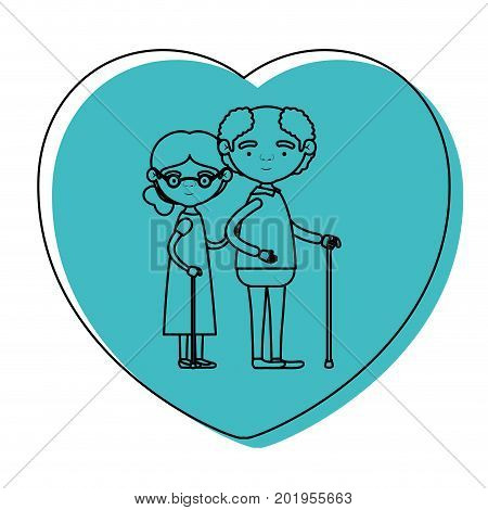 heart shape greeting card with caricature full body elderly couple embraced grandfather in walking stick and grandmother with collected hair and glasses in blue watercolor silhouette vector illustration