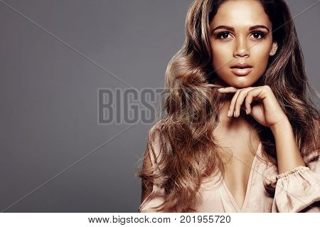 Beautiful Model With Perfect Skin And Long Hair