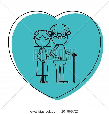 heart shape greeting card with caricature full body elderly couple embraced grandfather in walking stick and grandmother with bow lace and straight hair in blue watercolor silhouette vector illustration