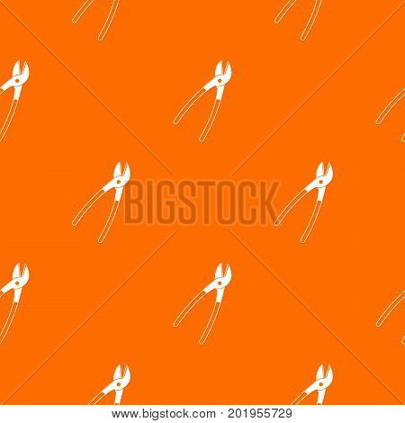 Metal shears pattern repeat seamless in orange color for any design. Vector geometric illustration
