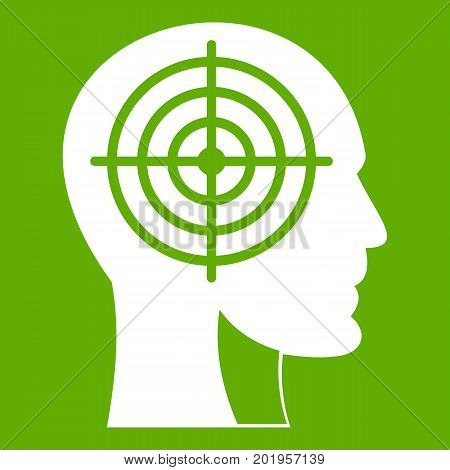 Crosshair in human head icon white isolated on green background. Vector illustration