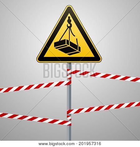 Caution - danger May fall from the height of the load. Safety sign. triangular sign on a metal pole with warning bands. Light background. Vector illustration.