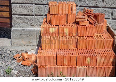 stack of red brick : masonry brick wall work detail